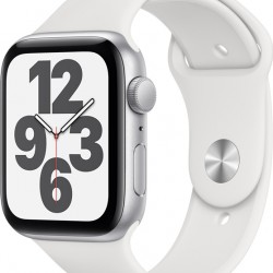 Apple Watch SE GPS 44mm Silver Aluminum Case with White Sport Band EU