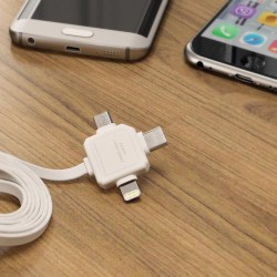 Allocacoc Flat USB to Lightning, Type-C, micro USB |3 in 1| Cable Grey 1.5m