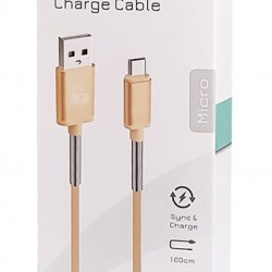 Powertech Regular USB 2.0 to micro USB Cable, 1m, Gold, 2.1A