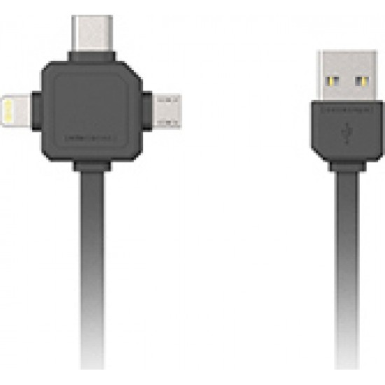 Allocacoc Flat USB to Lightning, Type-C, micro USB  3 in 1  Cable Grey 1.5m