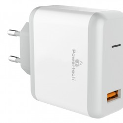 POWERTECH Quick Charger 3A, 1x USB, 18W, White