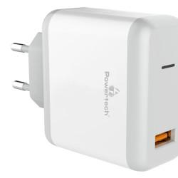 POWERTECH Charger 1x USB, 18W, 3A, QC 3.0, White