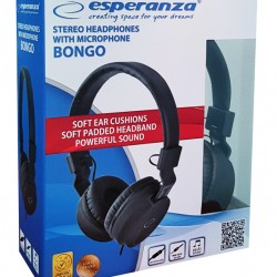 ESPERANZA headphones Bongo, 3.5mm, 105dB, 1.5m, Black