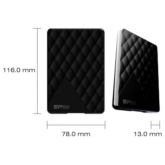 SILICON POWER Portable HDD 1TB Diamond D06, USB 3.0, Black