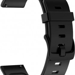 Replacement Silicone Strap 20mm - Black for Samsung Galaxy Watch 4 R860/R870/R880/R890/R810 (42mm)/Active 2 R830 (40mm) – Xiaomi Amazfit GTS|GTS 2|2e (43mm)/GTR (42mm) - Huawei Watch 2 (Sport)/GT 2 (42mm) - Garmin Forerunner 55/245 Music (42mm)