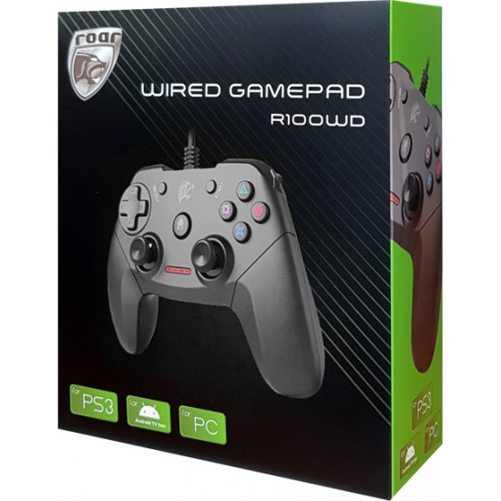 ROAR wired Gamepad R100WD for PC, PS3 and Android TV box, with vibration