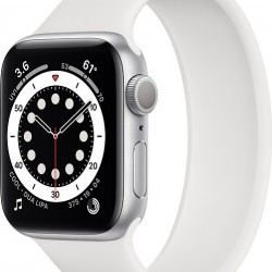 Apple Watch Series 6 GPS 44mm Silver Aluminum Case with Sport Band White EU