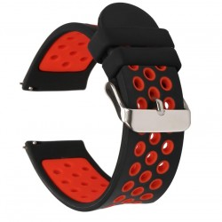 Replacement Silicone Strap 22mm, Black-Red for Samsung Galaxy Watch R800/Watch Active 3 R840 (45mm) - Huawei Watch GT/GT 2|2 Pro|GT 2E|Active /Honor Magic/Magic 2/GS Pro/Watch 2 Classic - Xiaomi Amazfit GTR (47mm)/GTR2/GTR2e/T-Rex
