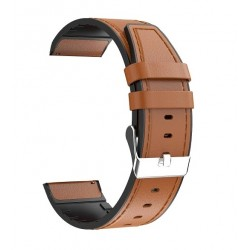 Replacement Leather Strap 22mm, Brown for Samsung Galaxy Watch R800 (46mm)/Gear S3 Frontier R760 - Huawei Watch GT/GT 2/GT 2E (46mm)/GT Active/Honor Magic/Magic 2 (46mm)/Watch 2 Classic - Xiaomi Amazfit GTR (47mm)/PACE/Stratos 2|2s/Stratos 3/T-Rex