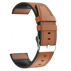 Replacement Leather Strap 22mm, Brown for Samsung Galaxy Watch R800 (46mm)/Watch Active 3 R840 (45mm) - Huawei Watch GT/GT 2|2 Pro|GT 2E|Active /Honor Magic/Magic 2/GS Pro/Watch 2 Classic - Xiaomi Amazfit GTR (47mm)/GTR2/GTR2e/T-Rex